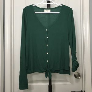 NWT front tie green button up shirt